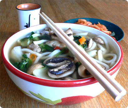 Udon noodles, kimchi and a cup of sake
