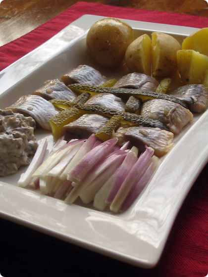 New Potatoes with Pickled Herring, Onions and Pickles