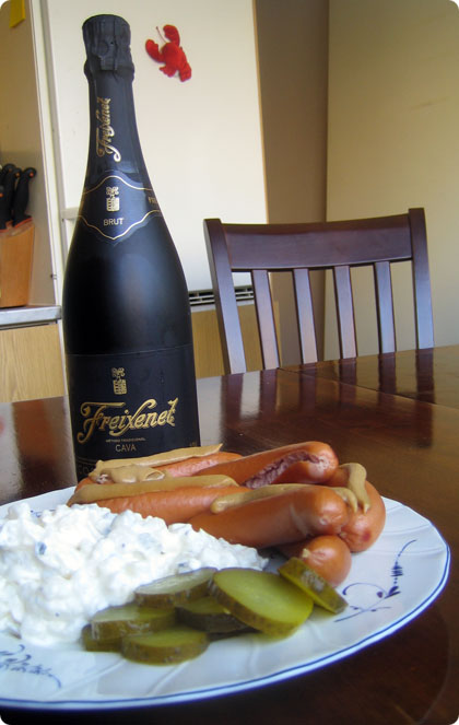 Sausages, Potato Salad, Pickles And Some Bubbly